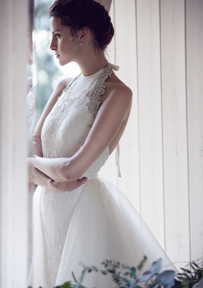 lace halter wedding dress