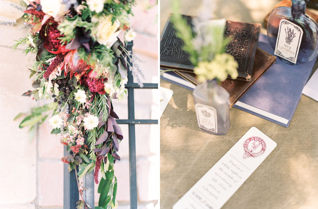 berry colored floral ceremony piece