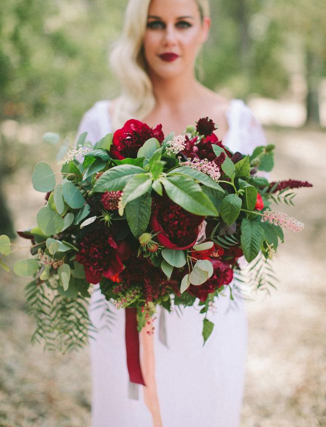 deep red peony bouquet