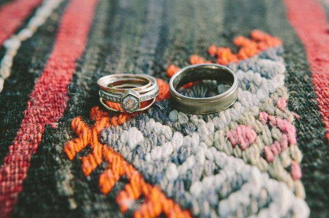 wedding rings on rug