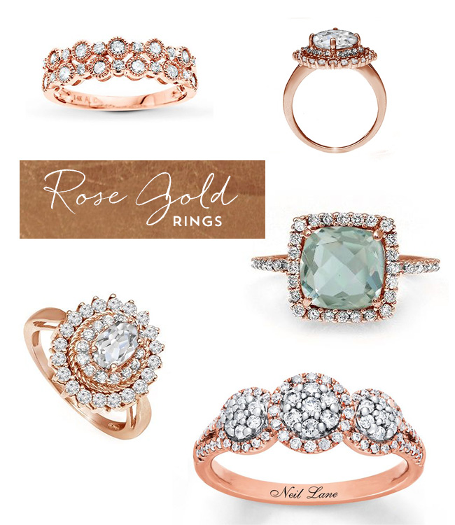 rose gold heirloom engagement rings from jared green wedding shoes