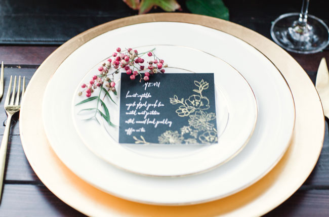 black place card