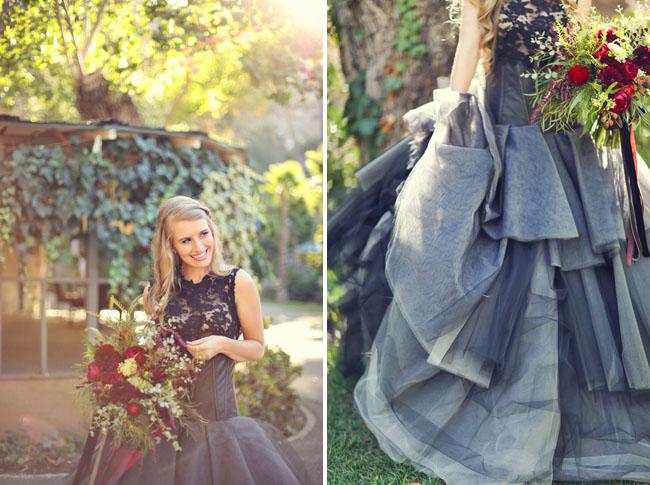 black layered wedding dress