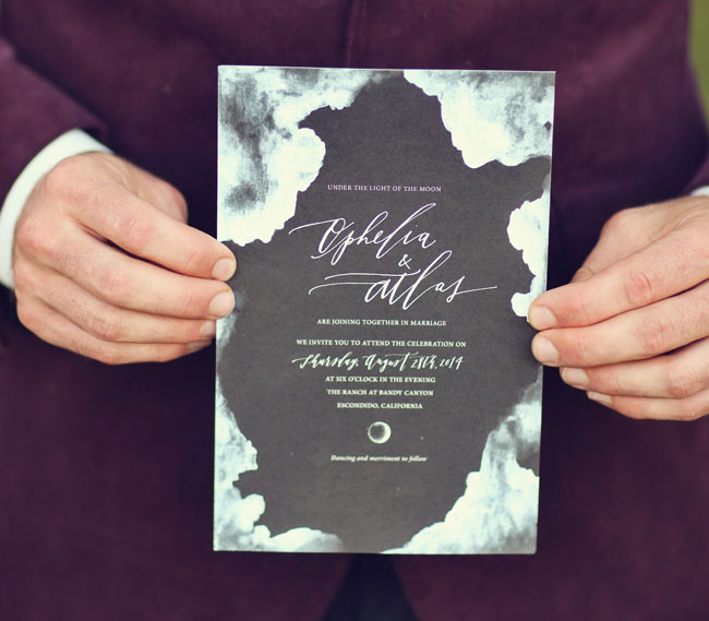 black watercolor invitation