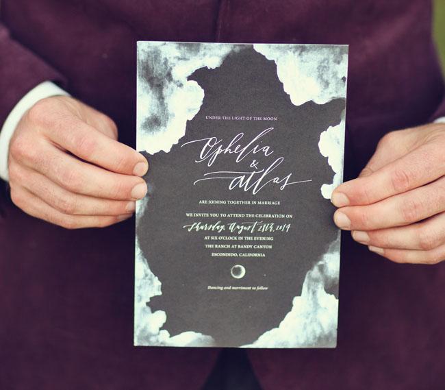 black watercolor invitation