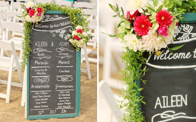 chalkboard and garland