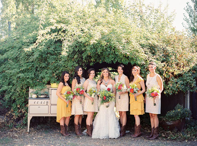 dresses and boots bridesmaids