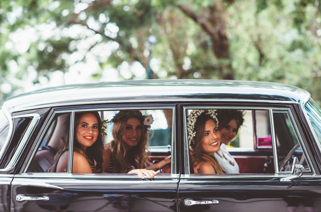girls in vintage car