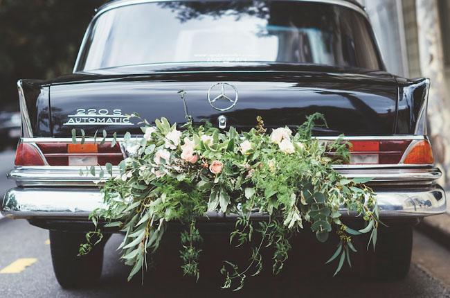 vintage car flower arrangement