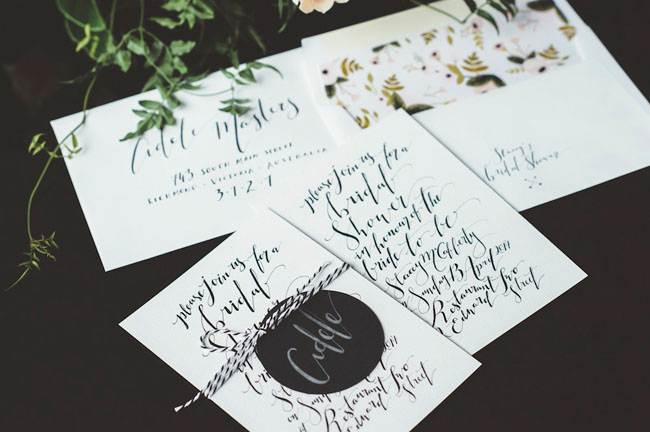 black and white calligraphy invitation