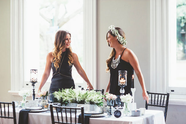 urban monochrome bridal shower