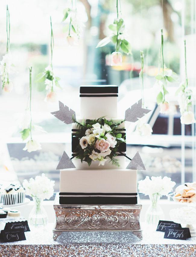 black and white arrow cake