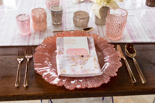 vintage pink floral shaped plate