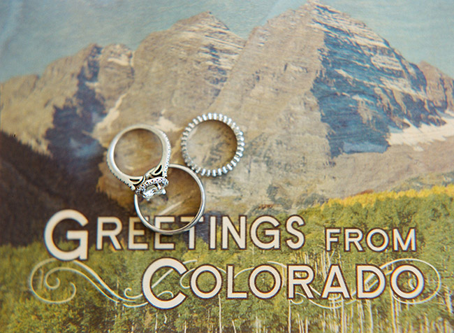 Ring photo with Colorado postcard