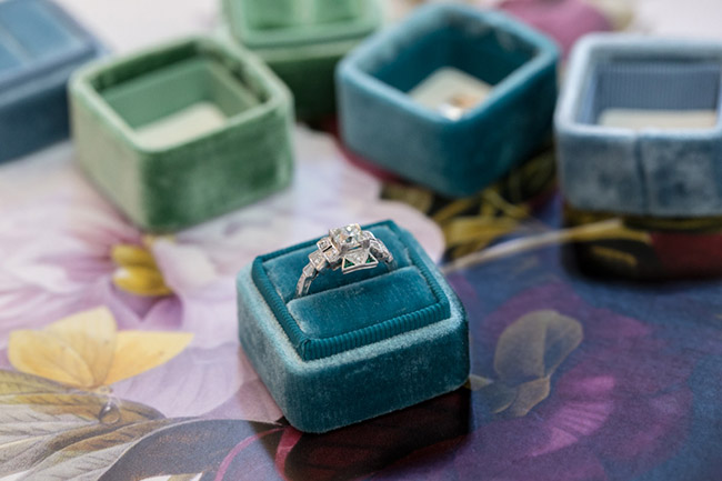 trumpet and horn vintage engagement rings