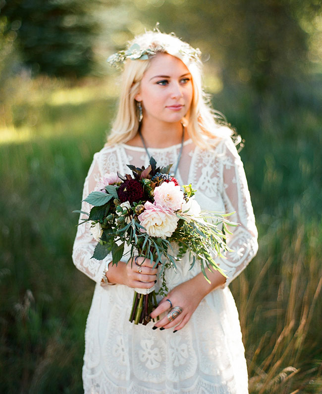 bohemian flower crown bridesmaid