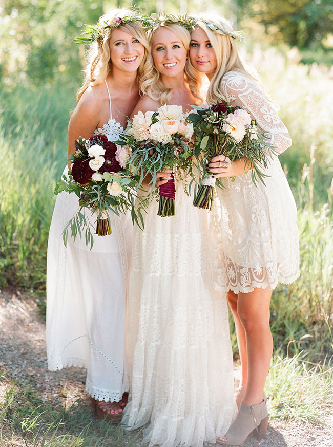 bohemian flower crown bridesmaids