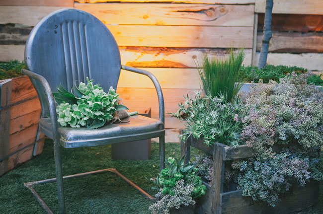 metal chair and plants