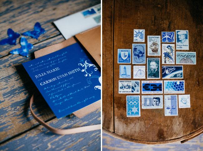 blue vintage stamps