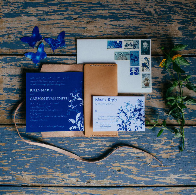 blue chambray invitation