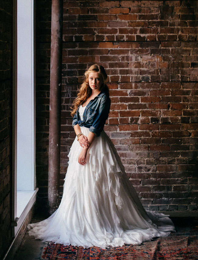 Blue Jean Wedding Dresses : Industrial chambray wedding inspiration green