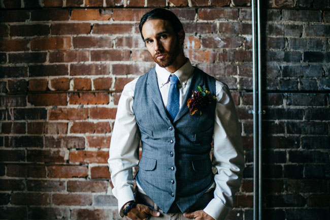 blue chambray groom
