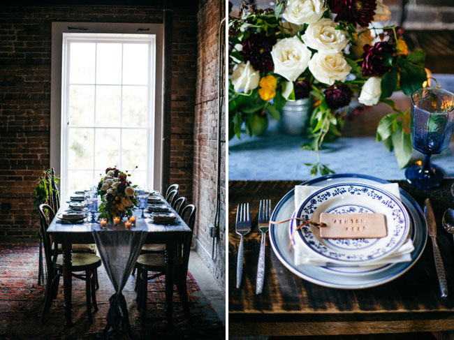 blue chambray tablescape