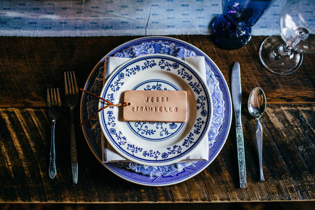 indigo blue table setting