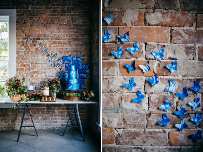 blue butterfly dessert table