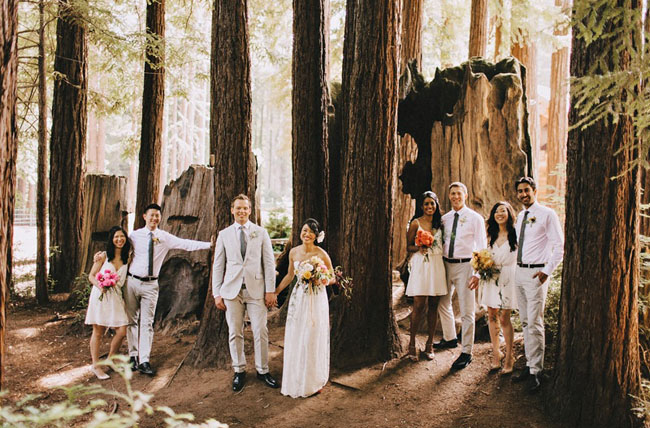 woodland wedding party