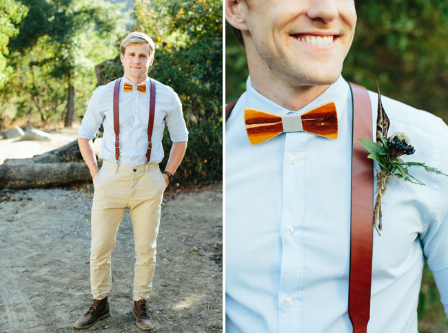 leather suspenders and boutonniere