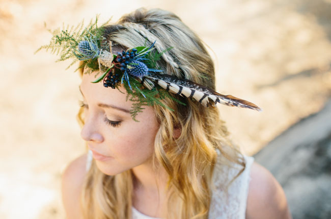 feather floral flower crown