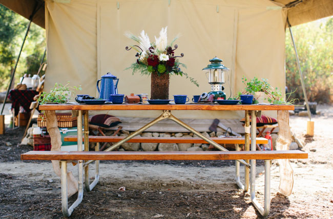 camping inspired tablescape