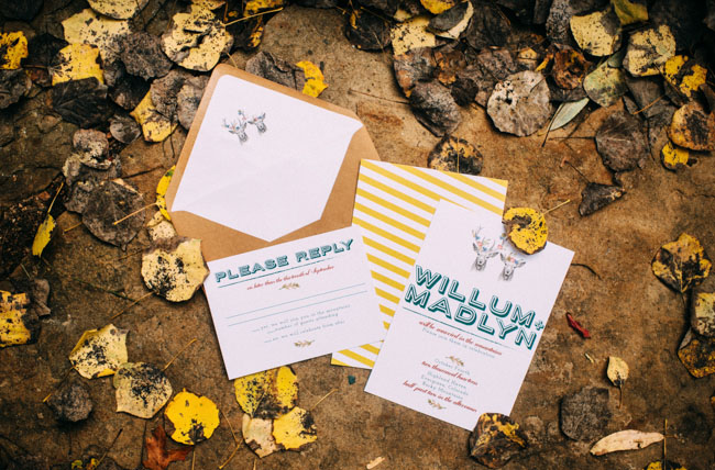 teal and yellow invitation