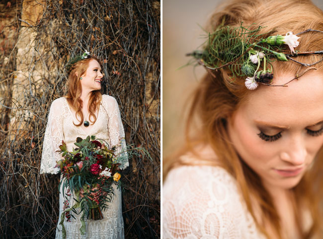 Fall green flower crown