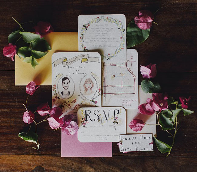 illustrated floral invitation