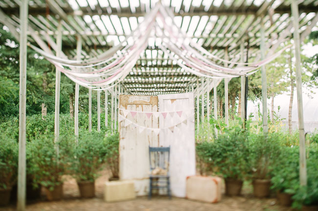 vintage doors and hanging ribbon