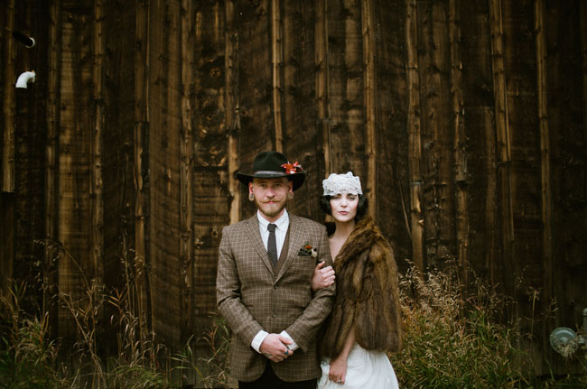 Vintage inspired bride and groom