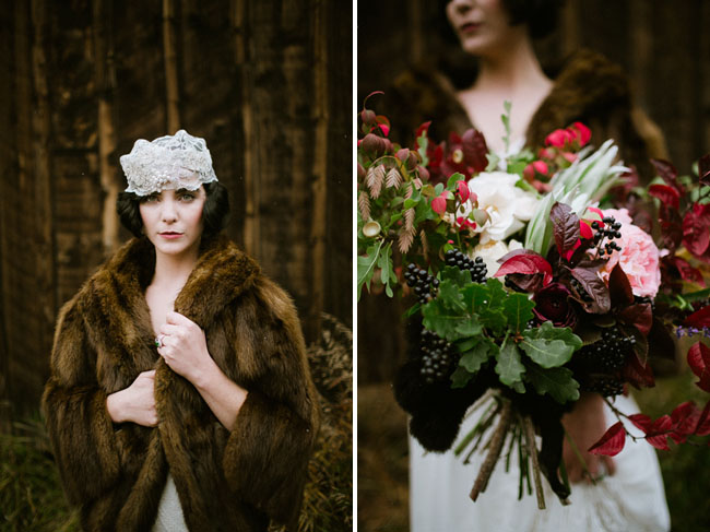 bride in fur coat