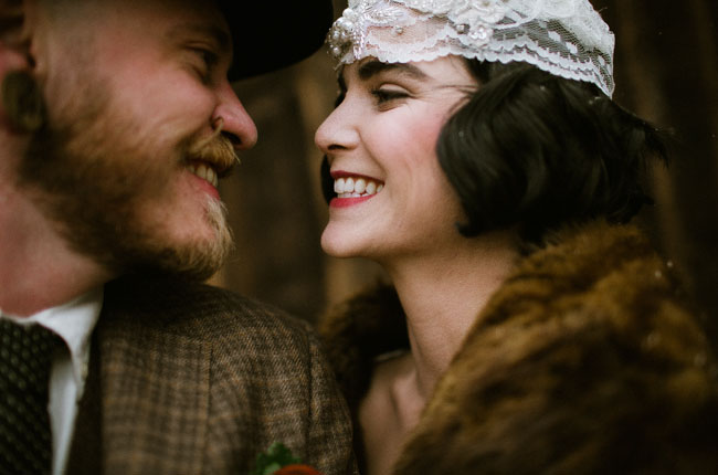 Vintage inspired bride and groom