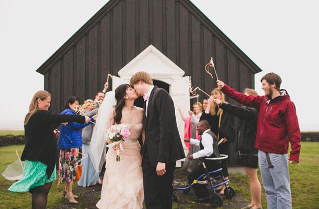 Icelandic black church wedding