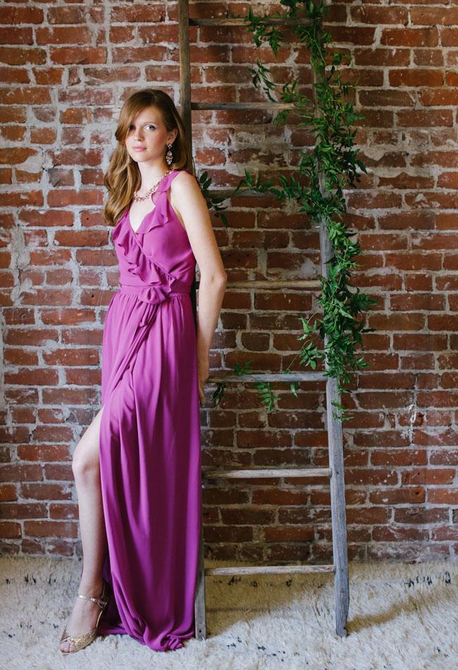 pink ruffle bridesmaid