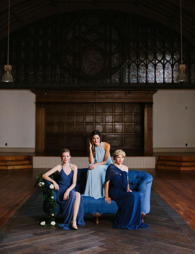 modern blue bridesmaids