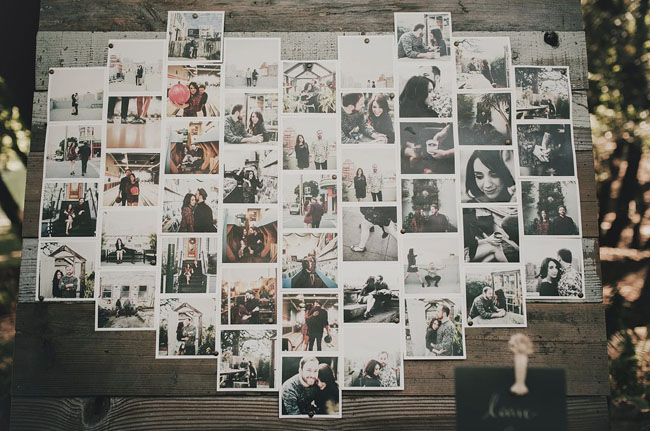 square photos in heart