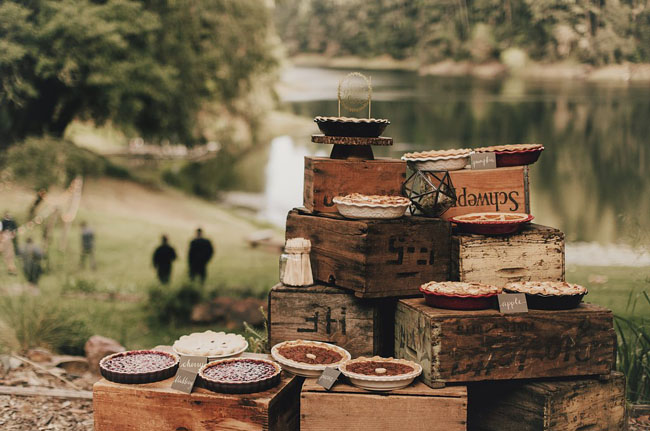 pies bar on vintage crates