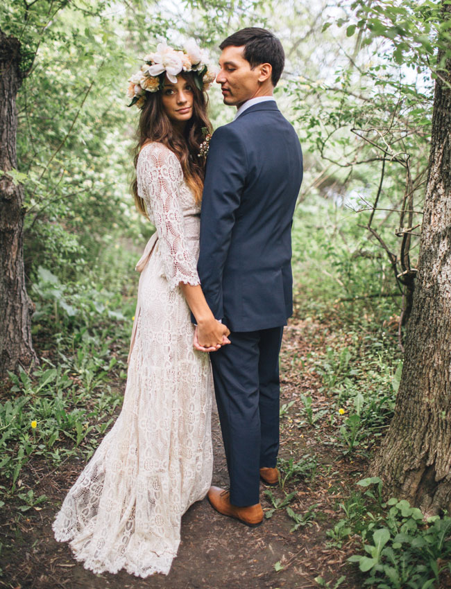 Elegant BHLDN Wedding Dress. Milwaukee Backyard Wedding Idea