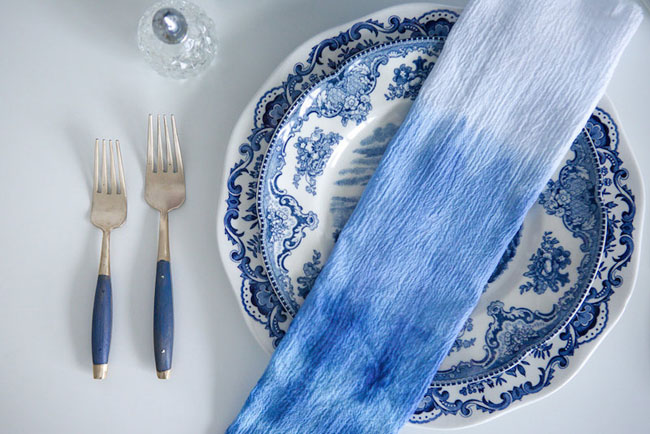 indigo dip dyed napkin