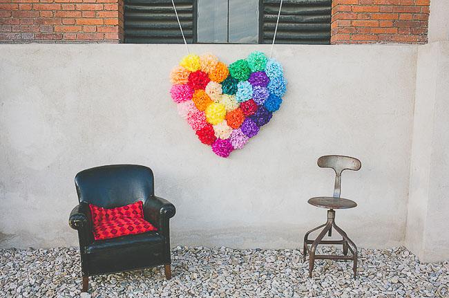 tissue ball rainbow heart