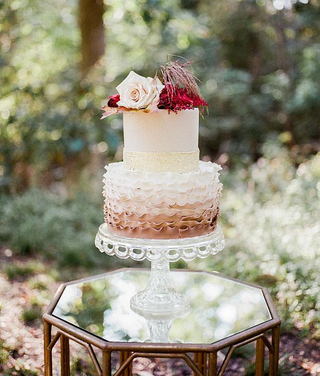 champagne ruffle cake