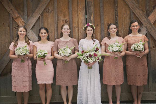 nude colored bridesmaid dresses